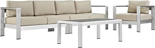 Modway Shore 4-Piece Aluminum Outdoor Patio Sectional Sofa Set in Silver Beige