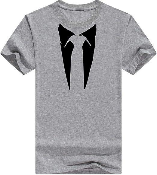beautyjourney Camiseta de Manga Corta para Hombre con patrón de Corbata Slim Fit Camiseta básica Tops Camiseta Casual de Verano con Cuello Redondo y Camiseta de Hipster: Amazon.es: Ropa y accesorios