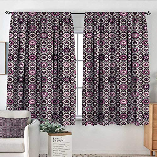 PriceTextile Purple,Backout Curtain Flowering Nature Motifs 72