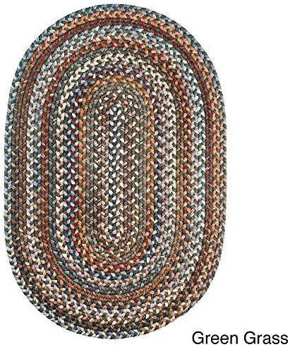 Rhody Rug Augusta Oval Braided Wool Rug by 7 x 9 Green Grass