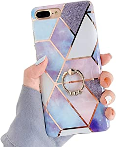 Qokey Compatible with iPhone 8 Plus Case,Compatible with iPhone 7 Plus Case 5.5 inch Flower Cute Stand Cover for Women Girls 360 Degree Rotating Ring Kickstand Soft TPU Shockproof Cover Blue Bling