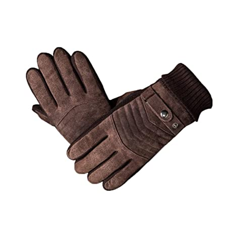 various colors 1703f cdf9a Gloves Cycling Ski Running Pig Skin Windproof And Warm Thicken Riding  Non-slip Touch Screen Wrist Thread TINGTING (Color   BROWN)  Amazon.co.uk   Kitchen   ...
