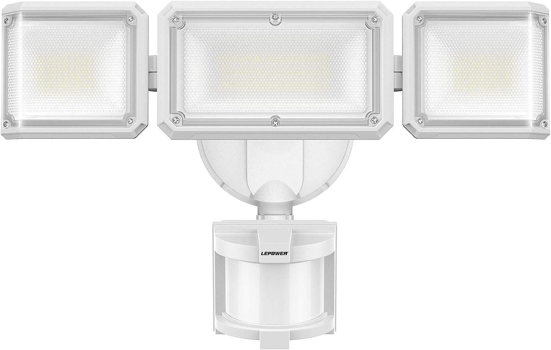LEPOWER 42W LED Security Lights Motion Sensor Outdoor Light, 4200LM Dusk to Dawn Flood Light, 220° Wide Lighting Area, 3 Modes, 5000K, IP65 Waterproof, 3 Head Motion Detected for Garage, Yard