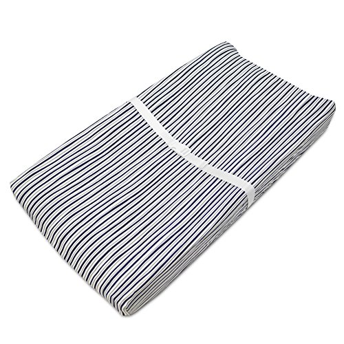 American Baby Company Printed 100% Natural Cotton Jersey Knit Fitted Contoured Changing Table Pad Cover, Also Works with Travel Lite Mattress, Navy/Grey Funny Stripes, Soft Breathable, for Boys Diaper Funny Diaper Cover