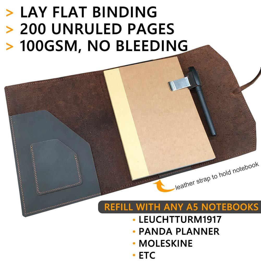 Amazon.com: Cuaderno A5 de cuero, cuaderno en blanco: Office ...