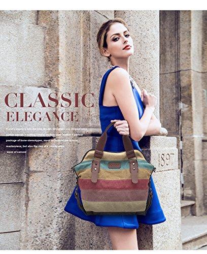 Moda Kaukko Lona Y Las Slingbag La Del De Hombro Elegante La De Mujeres Stripes02 De Totalizadores Bolso De Rayas Hobos Bolsas dgZ5Zxq6