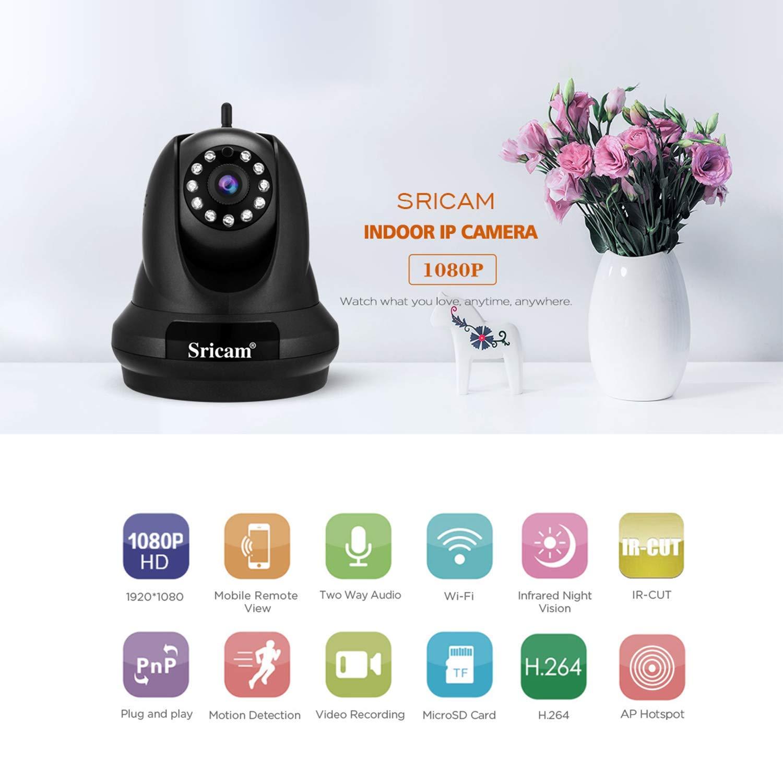 Sricam WiFi Security Camera 1080P HD Cam/éra sans Fil Cam/éra de s/écurit/é ext/érieure /étanche Prend en Charge lenregistrement sur Carte Micro SD//Smart Phone//PC Windows