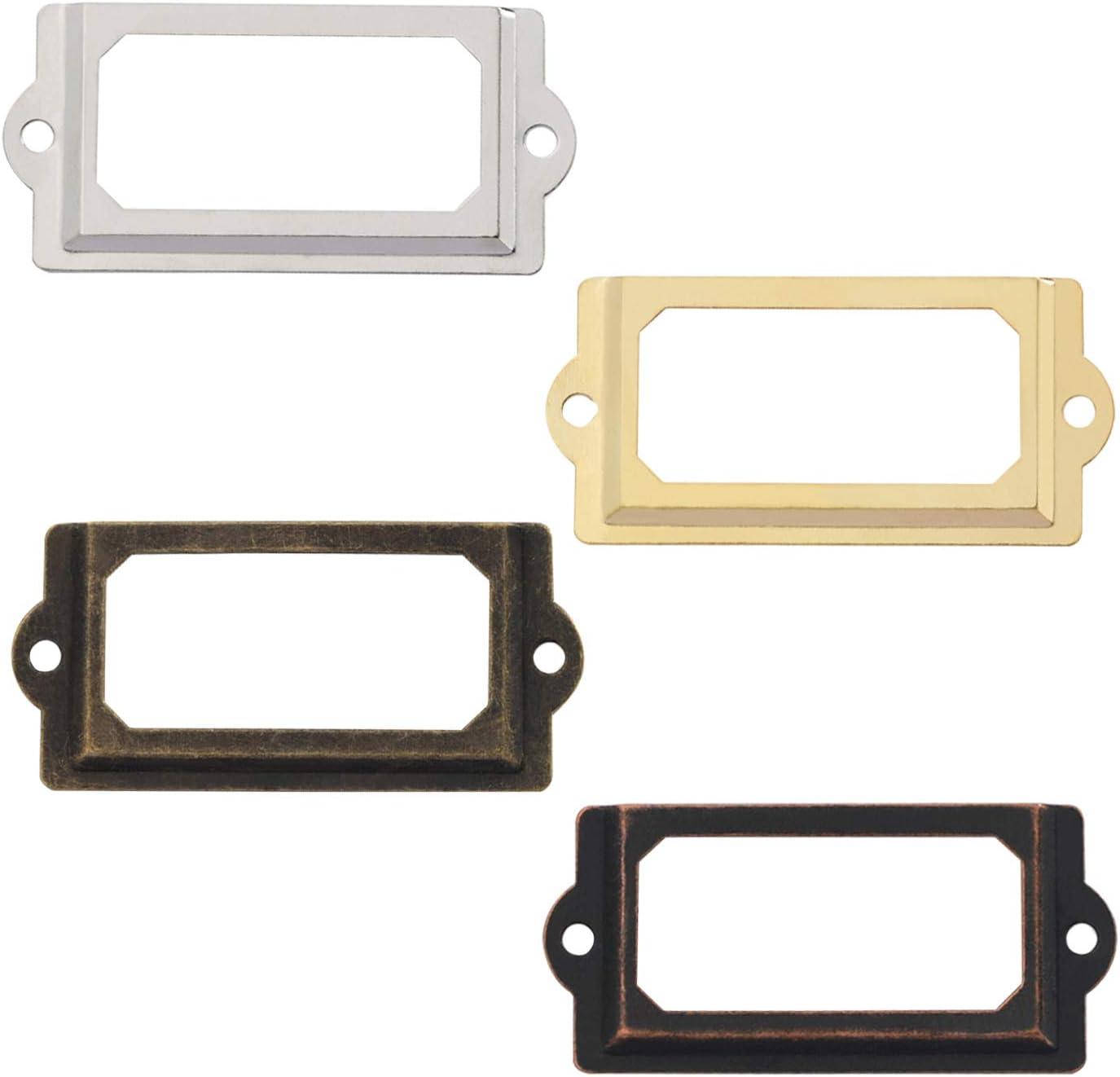 Zuzer 60pcs Etikettenrahmen Metall Label Halter Etikettenhalter Frames Schrankrahmen f/ür Namensschilder Apothekerschrank Schublade Schrank Oder Aktenschrank,70x33mm