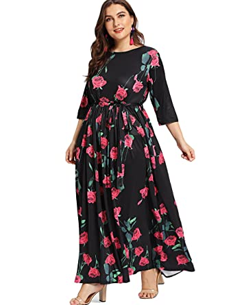 eaed044b403aa Romwe Women s Plus Size Floral Print 3 4 Sleeve Tie Waist Long Maxi Dress  at Amazon Women s Clothing store