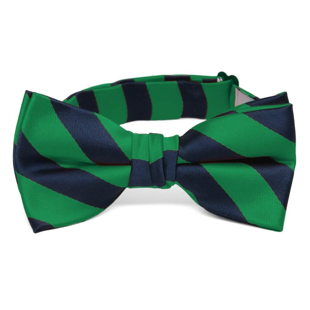 TieMart Boys' Kelly Green and Navy Blue Striped Bow Tie