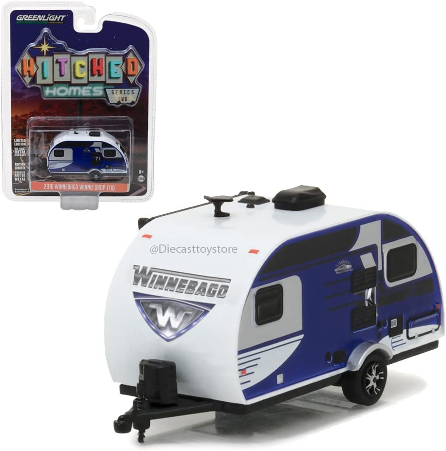 GREENLIGHT 1:64 HITCHED HOMES SERIES 2 - 2016 WINNEBAGO WINNIE DROP DIECAST BLUE 34020-D