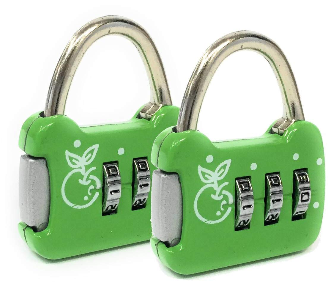 Red Red 2 Mini Padlocks 3-Digit Combination Safe and Reliable Suitcase Assorted Colors Purple Pink Gym Locker Yellow Available in Silver Ideal for Travel Green