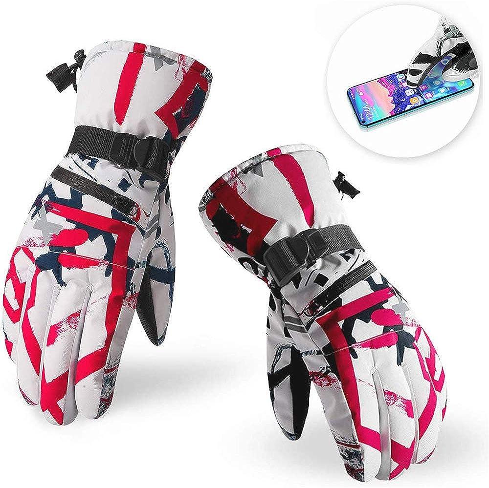 adatti allo sci WIKEA Guanti invernali da sci guanti caldi impermeabili per schermo touch pi/ù guanti spessi di velluto di velluto