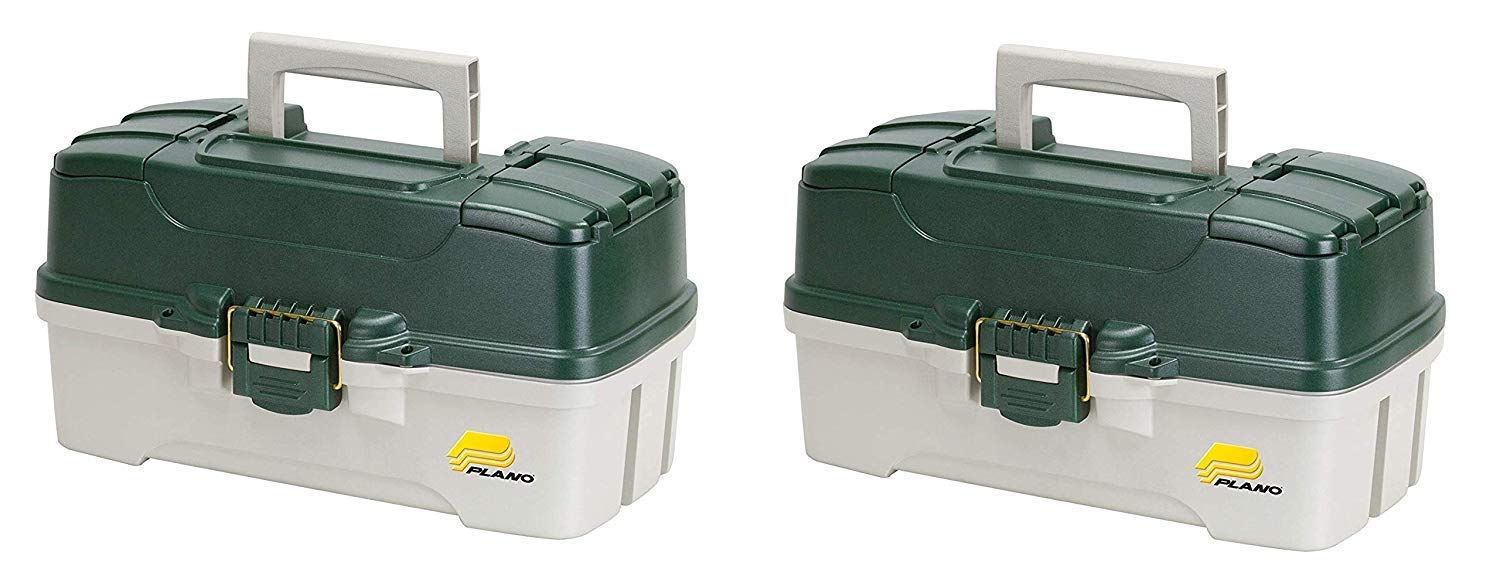 Plano 3-Tray Tackle Box with Dual Top Access, Dark Green Metallic/Off White, Premium Tackle Storage (Pack of 2) by Plano
