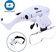 YOCTOSUN LED Head Magnifier, Rechargeable Hands Free Headband Magnifying Glass with 2 Led, Professional Jeweler's Loupe Ligh