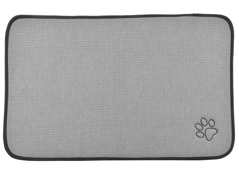Grey 30Inch x 45Inch Grey 30Inch x 45Inch Sinland Microfiber Extra-Large Pet Food Mat Dog Feeding Mat Pet Bowl Mat with anti-skid backing 30Inch x 45Inch Grey