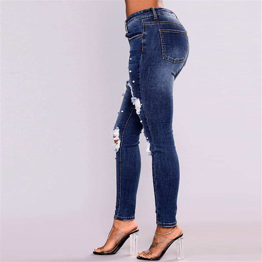 Newnessshop Pearl Jeans Women Skinny high Jeans Winter Frayed Ripped Jeans for Women Denim Pencil Pants