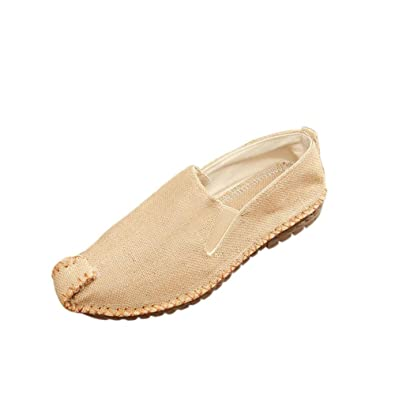 Unisex Men's Women's Cutouts Flax Straw Braid Canvas Breathable Linen Slip-on Flat Shoes