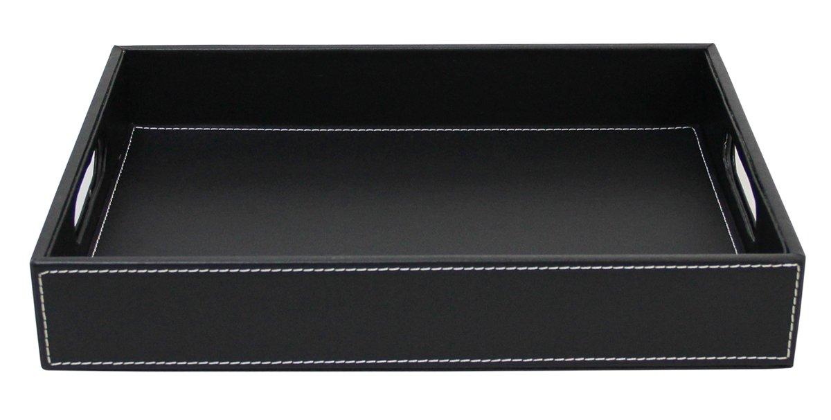 JustNile Leather Serving Tray/Dish - Black Sleek Rectangle yasons