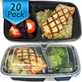 Amazon Price History for:[20 Pack] 32 Oz. 2 Compartment Meal Prep Containers Durable BPA Free Plastic Reusable Food Storage Container Microwave & Dishwasher Safe w/ Airtight Lid For Portion Control & Bento Box Lunch Box