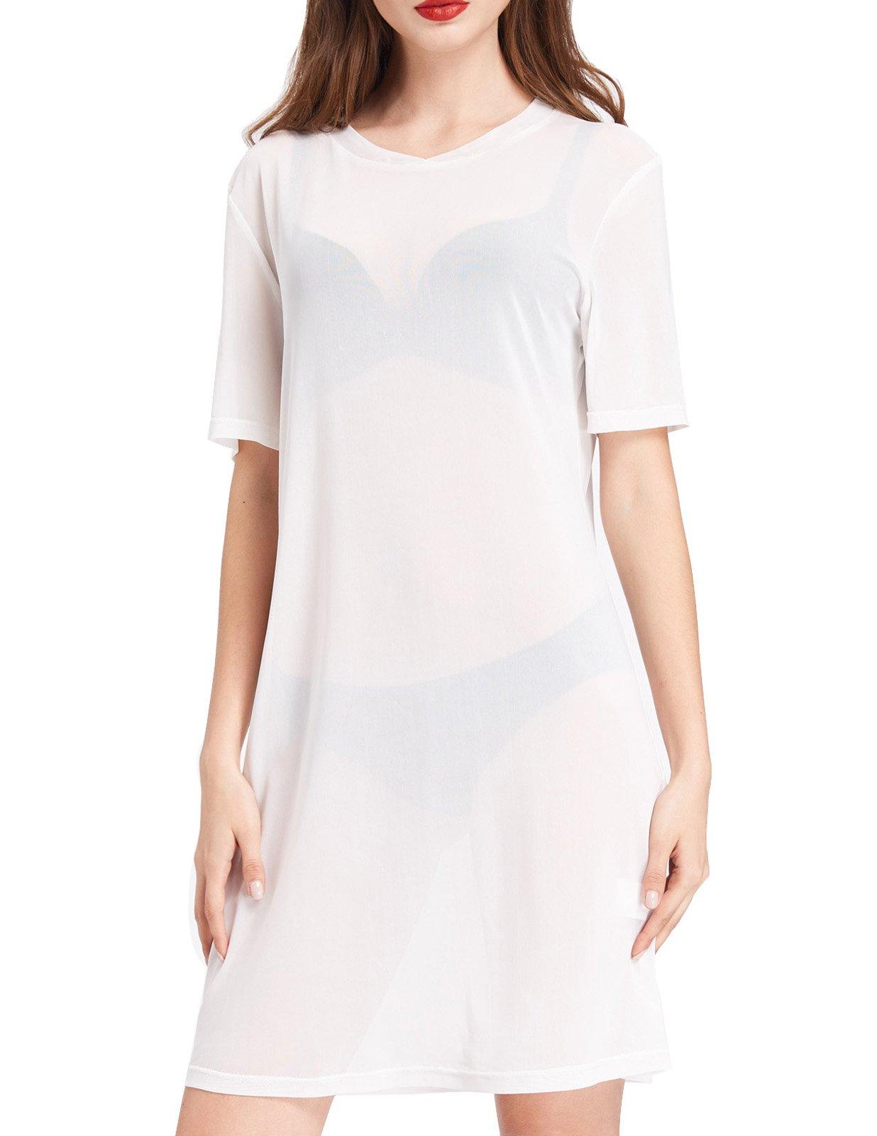 Kate Kasin See Through Pure Mesh Slim Shirts T-Shirt Dress (L,White)