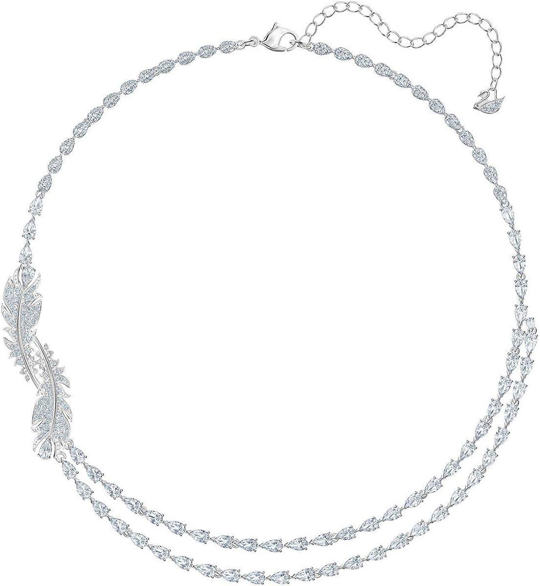 SWAROVSKI Crystal Nice Feather Collar Necklace, Rhodium-Plated