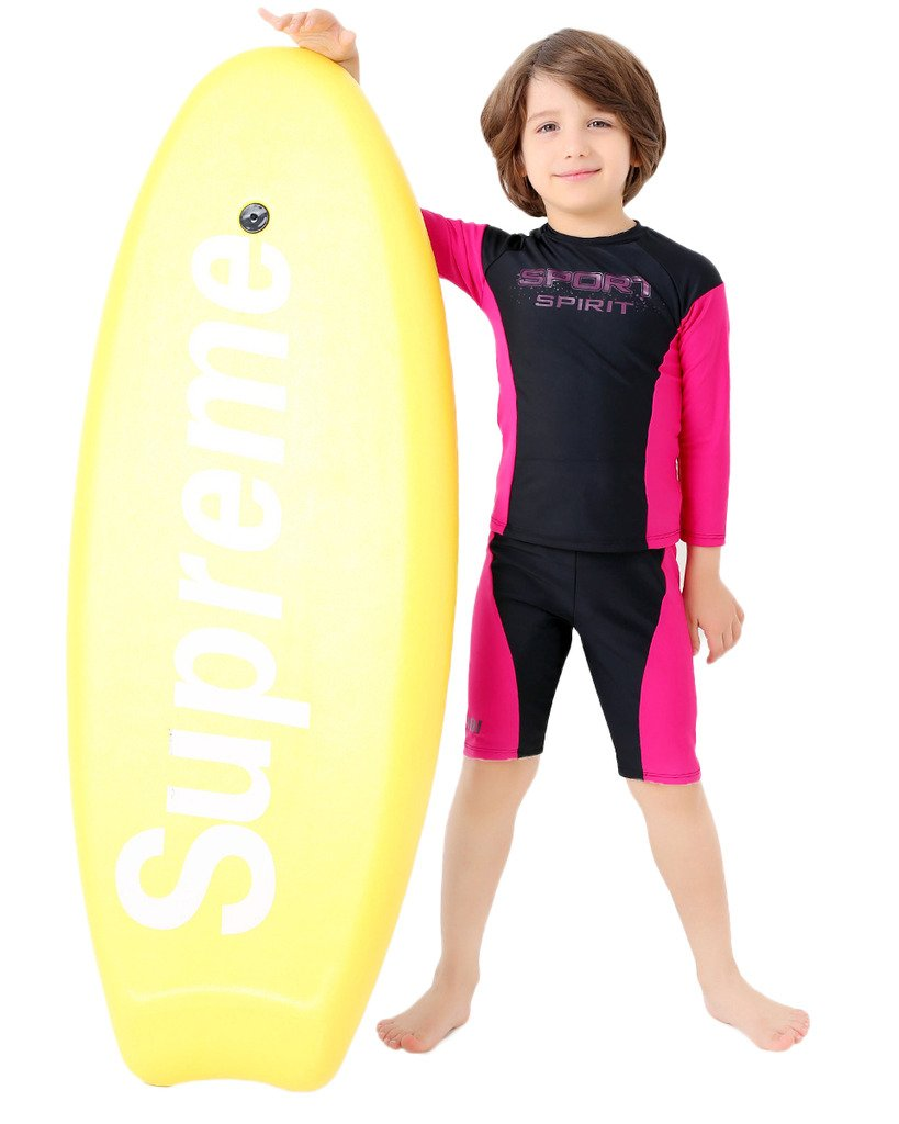 VertAst Boys 2 Pieces Swim Set Surfing Long Sleeve Sun Protective Top Swim Jammer shorts Suit for Age 2-13