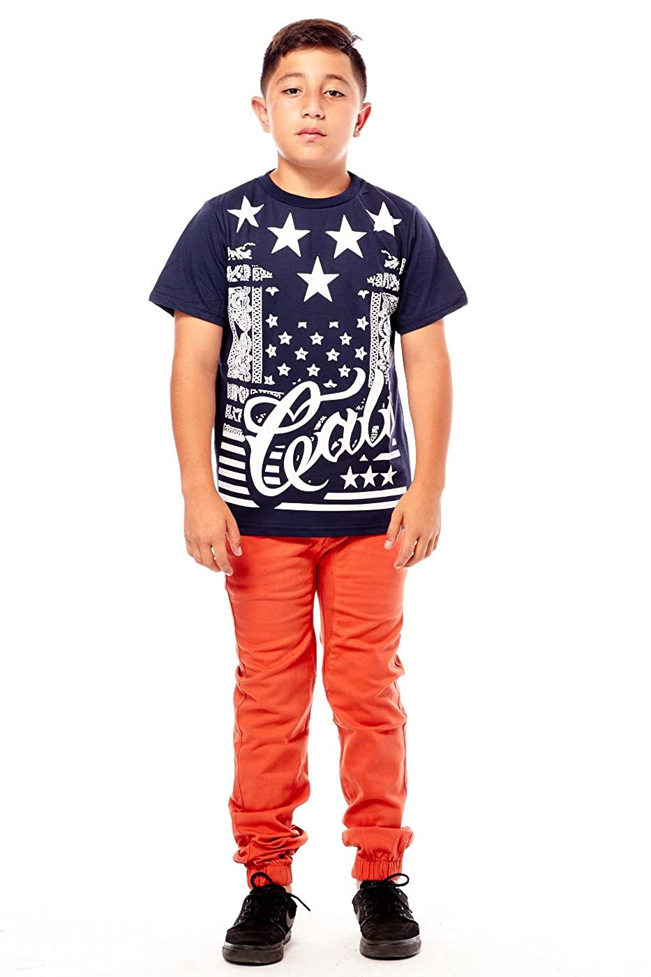12, Rust Daniel l Boys Kids Slim Fashion Clothes Drawstring Cuffed Joggers Pants BBP005