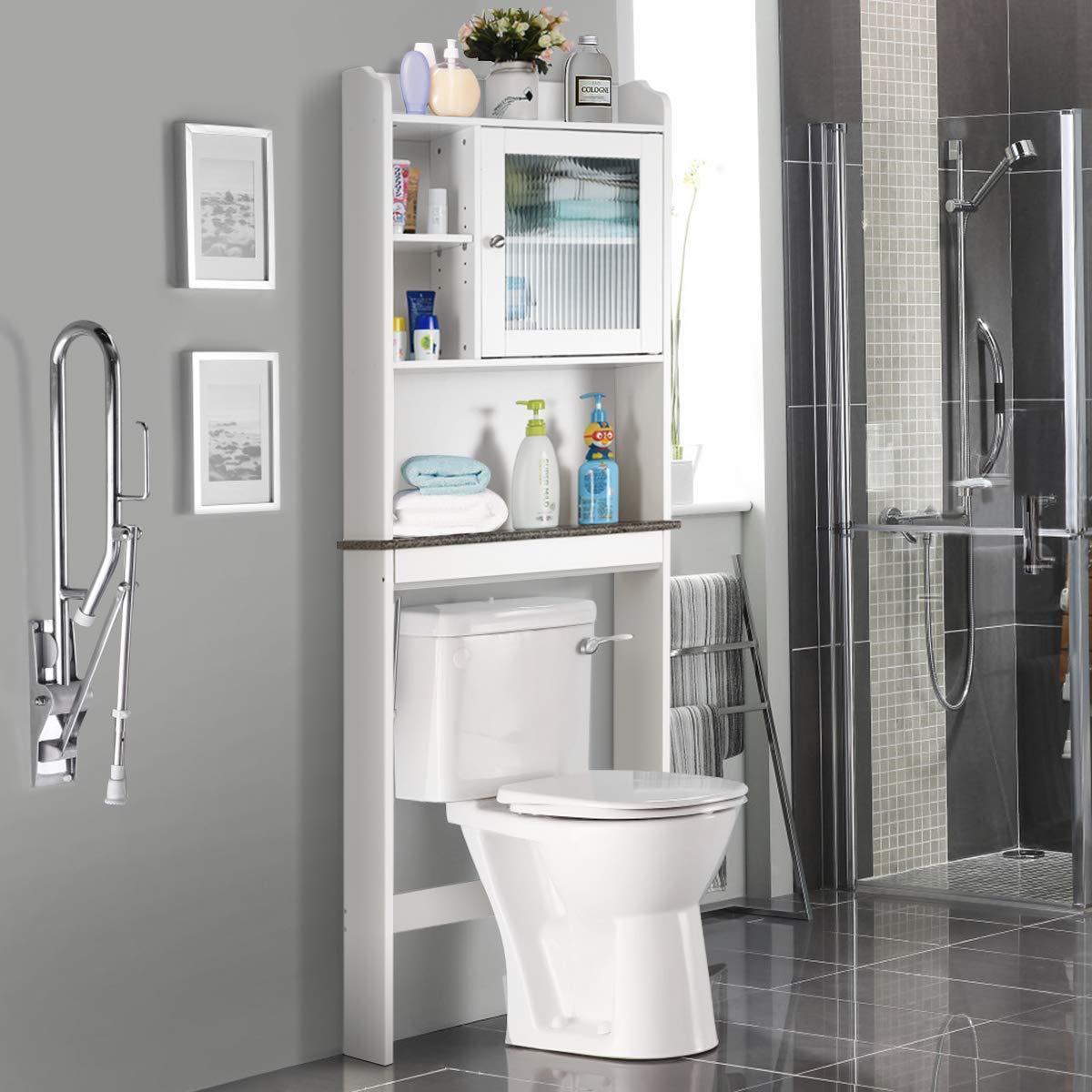 Giantex Over-The-Toilet Space Saver Collette Bathroom Spacesaver W/Storage Rack Cabinet Bathroom Organizer (68.1'' H) by Giantex