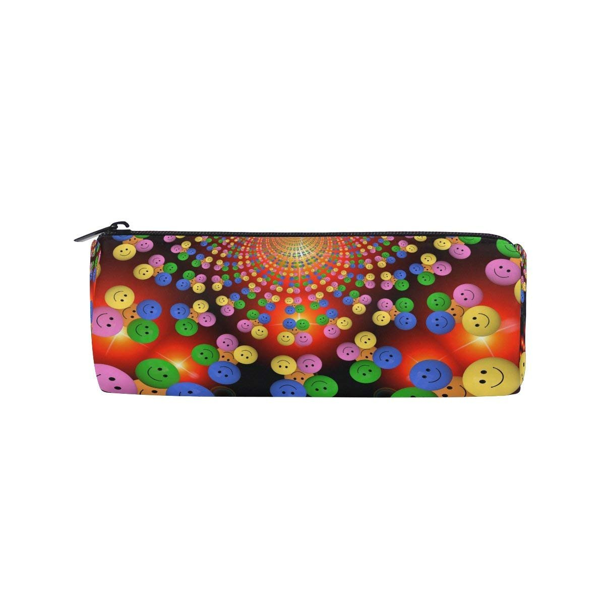 Love Heart Round Pencil Case Stationery Bag Zipper Pouch Pencil Holder