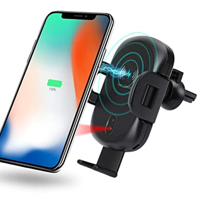 Qi Wireless Car Phone Charger Mount Stand for Samsung S8//S9 Note 8 9 iPhone X XS