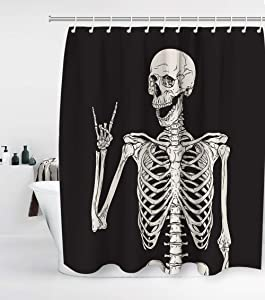 Halloween Rock Roll Skull Skeleton Bone Love Music Shower Curtain Nightmare Before Christmas with 12 Hooks Waterproof Washable and Durable Polyester Fabric Bathroom Set Decor Washable 72 x 72 inches