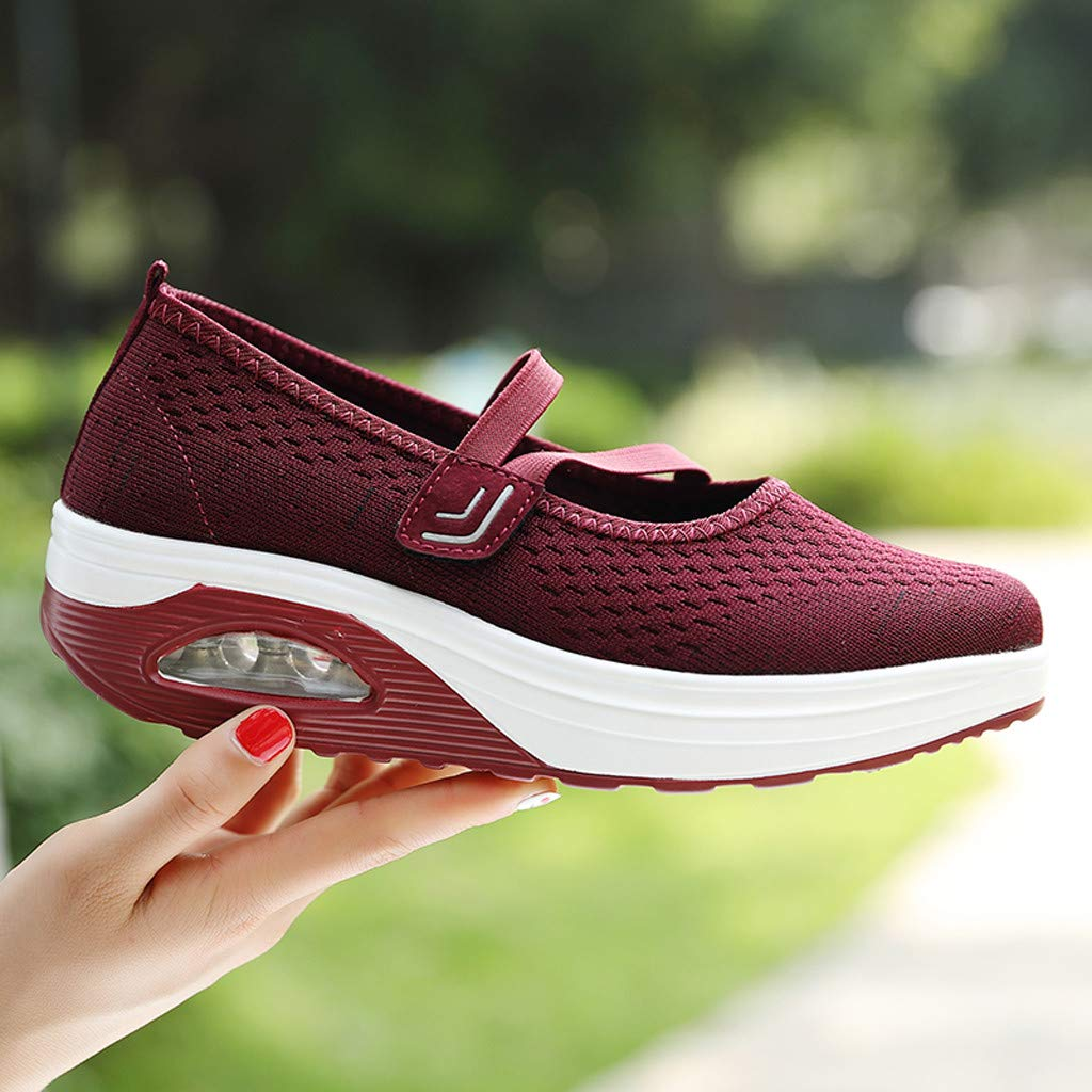 2019 Womens Girls Thick Bottom Platform Wedges Shoes Sneakers,Casual Soft Sole Slip-on Shoes 5.5-8