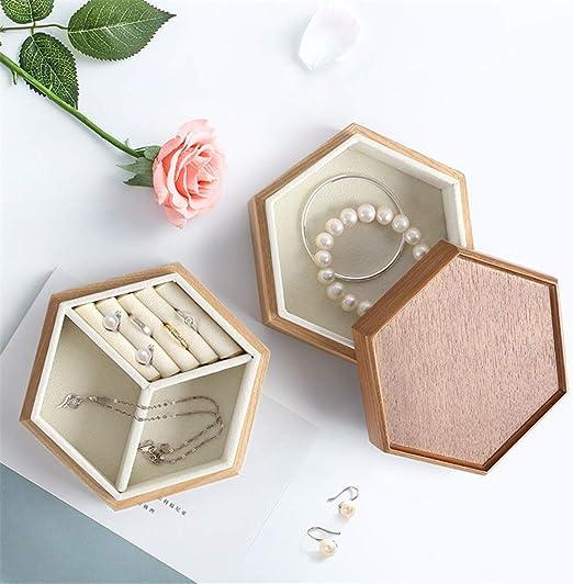 Caja de joyería Capa de madera Joyero doble de nido de abeja ...