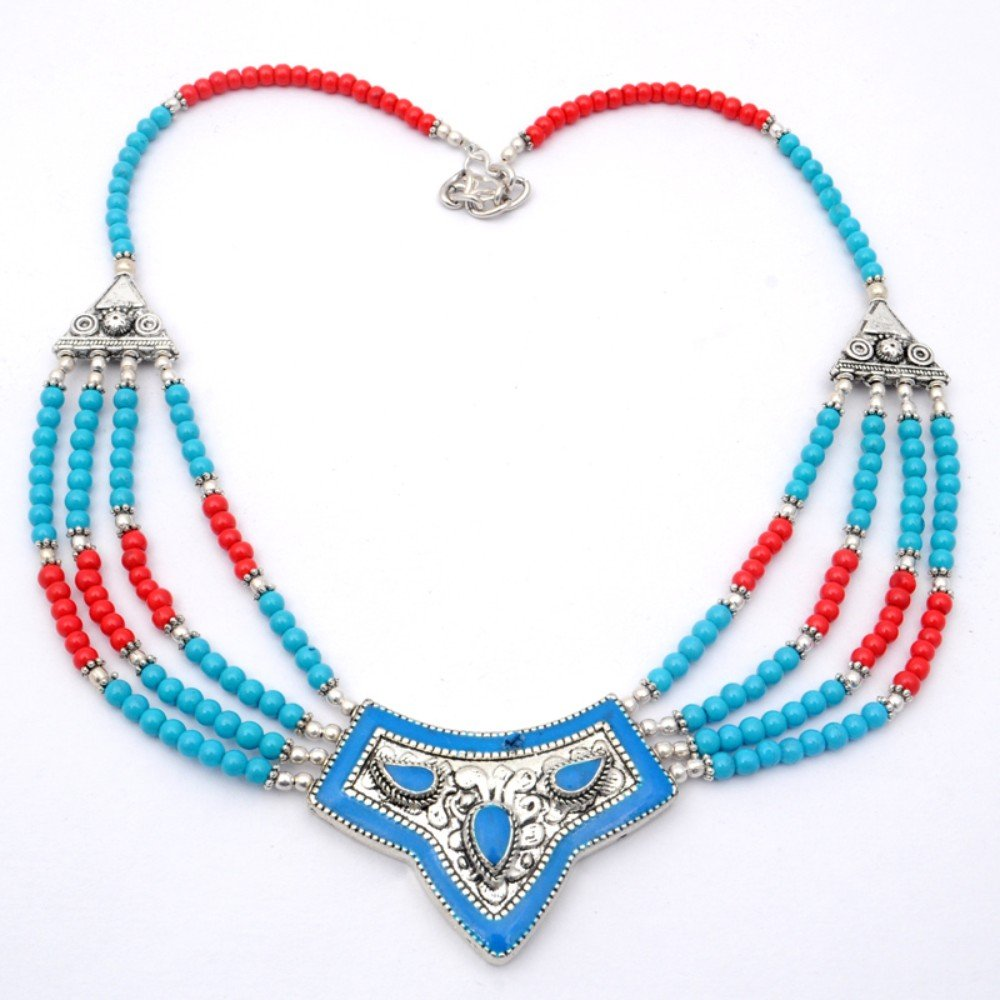 Handmade Jewelry Nepali Work Blue Turquoise With Multi-Stone Beads Sterling Silver Overlay Necklace 17-18