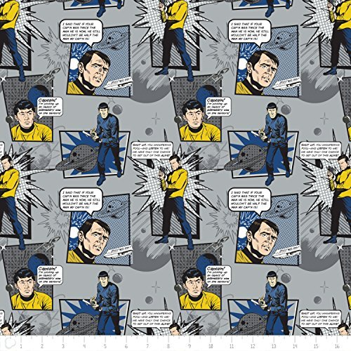 - Star Trek Galaxy Pop Quotes in Stone Fabric Sold by the Yard