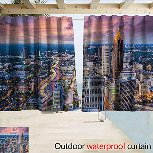 SEMZUXCVO Outdoor Waterproof Curtain Modern Atlanta City Skyline at Sunset with Hazy Light Georgia Town American View Insulated with Grommet Curtains for Bedroom W55 x L63 Baby Pink Blue Silver (Outdoor Store Atlanta Furniture Best)