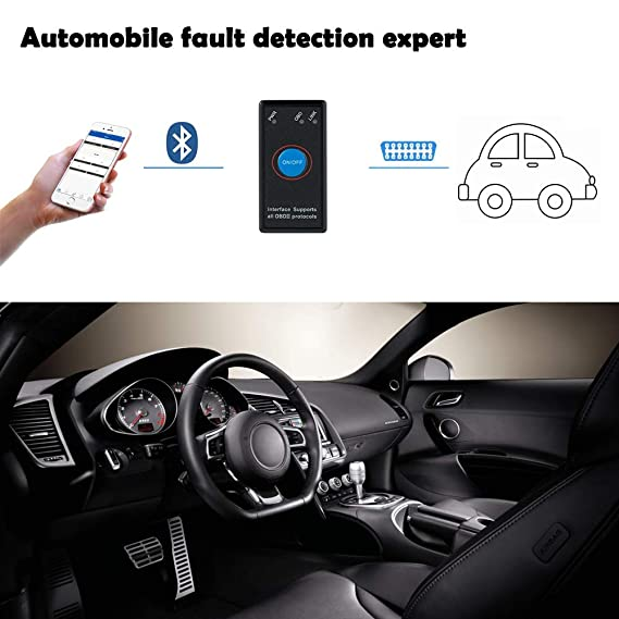 FREESOO OBD2 Bluetooth OBD Auto Escáner Lector de Código Herramienta de Análisis de Diagnostico Can-Bus Mini OBDII Adaptador inalámbrico para Windows ...