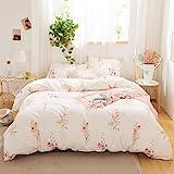Merryword Offwhite Floral Bedding Pink Flowers Duvet Cover Set Pink Lavender Flowers Printed Design Botanical Country…
