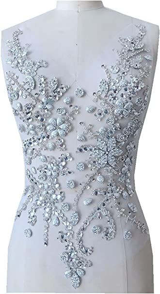 Pure Hand Made Crystals Patches Silver Sew on Rhinestone Applique Knit Trim 50 x 30 cm Dress Accessory