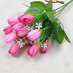 Erovy - 15 Heads Silk Tulip Bouquets Flowers With Green Leaves For Home Wedding Decor Furnishings Landscap 116