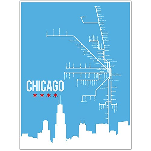 Amazon.com: Chicago L Train Map Wall Art Poster: Handmade on