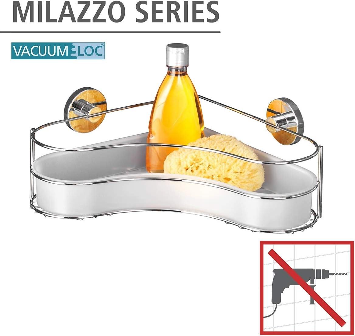 35 x 11.5 x 24 cm WENKO 20894100 Vacuum-Loc rinconera Milazzo Acero fijar sin taladrar Cromo
