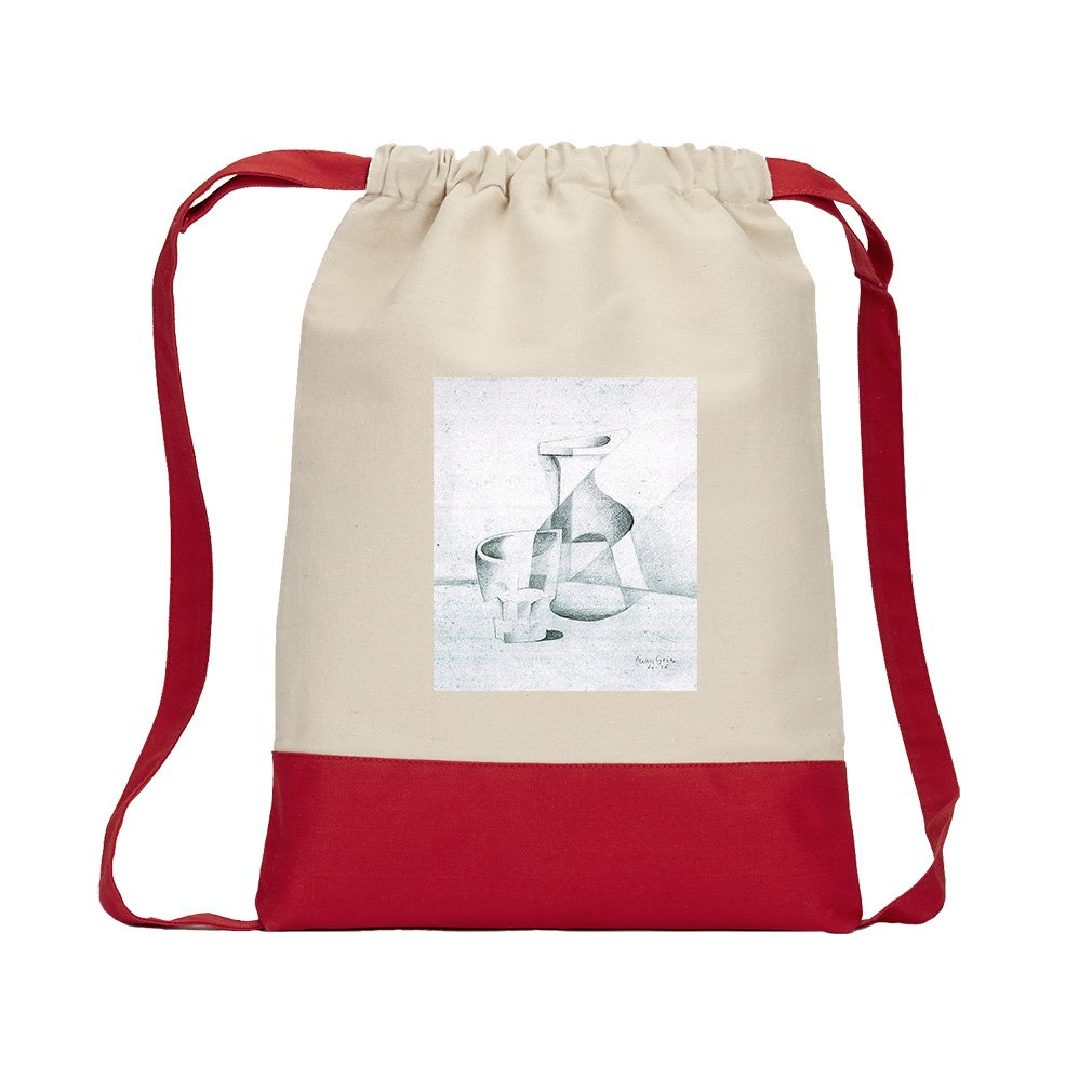 Caraffe And Glass (Juan Gris) Canvas Backpack Color Drawstring Bag - Red
