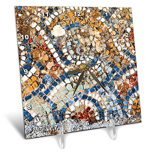3dRose Danita Delimont - Abstracts - Turkey, Selcuk, Ancient City Ephesus. Mosaic Floor. - 6x6 Desk Clock (dc_312852_1)