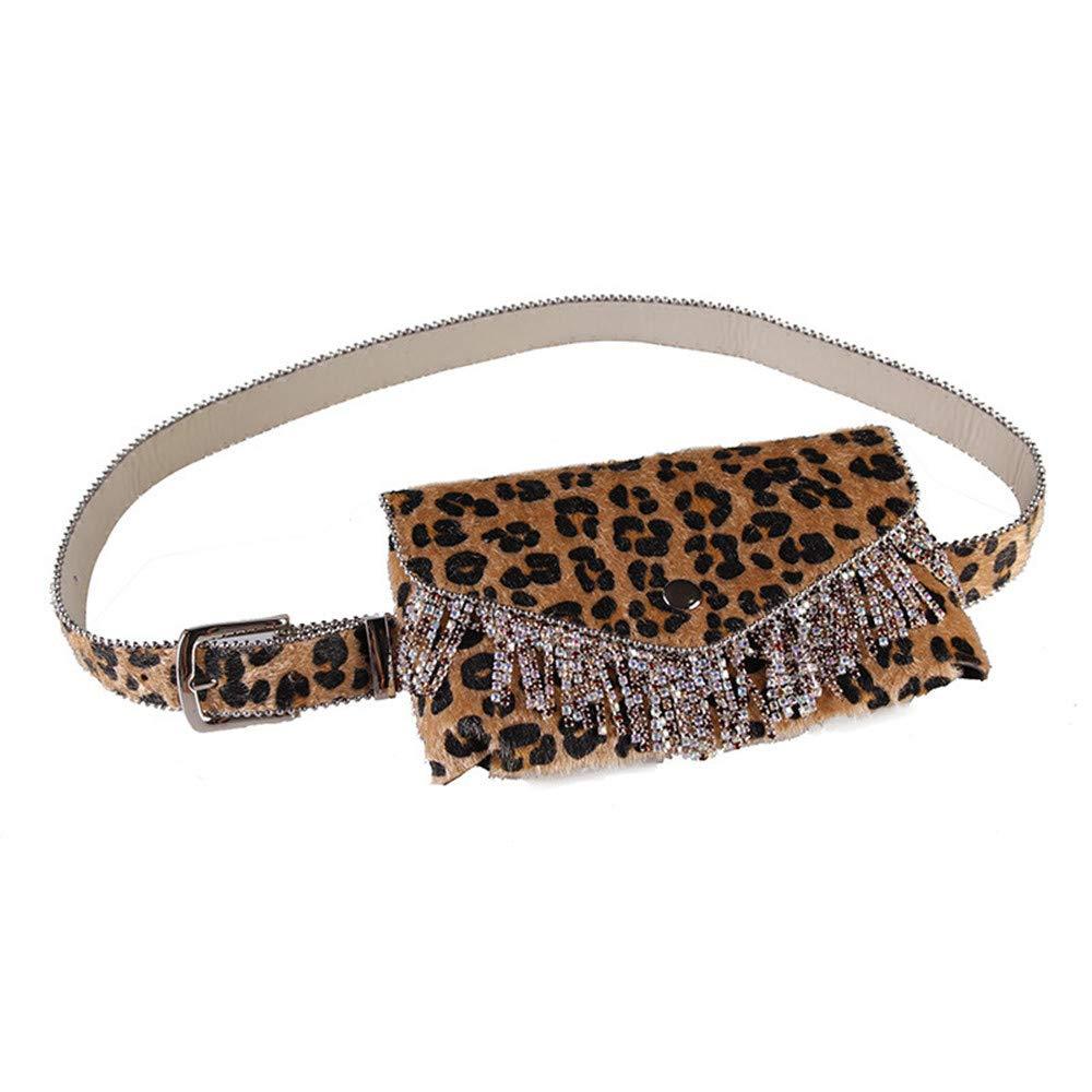Bolso de cintura Bolso de cintura para mujer Bolso de cinturón con estampado de leopardo Mochila de cuero de gamuza con borlas Cinturón extraíble ajustable con bolso de cintura Bolso mini bolso de via