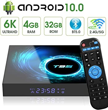 Android 9.0 TV Box, T95 Max Android TV Box Quad-core CPU 4GB RAM 32GB ROM Support 3D 6K Ultra HD USB 3.0 2.4GHz WiFi Ethernet HDMI Smart TV Media Box: Amazon.es: Electrónica