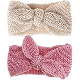 Baby-Girls Knit Rabbit Knotted-Headband Winter Cute Kids Headwrap Earwarmer (Beige+Pink 2pcs)