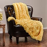 Chanasya Super Soft Shaggy Longfur Throw Blanket | Snuggly Fuzzy Faux Fur Lightweight Warm Elegant Cozy Plush Sherpa Microfiber Blanket | for Couch Bed Chair Photo Props - 50'x 65' - Yellow