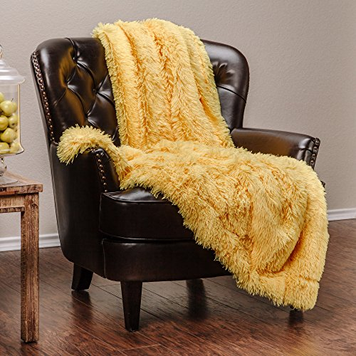 Chanasya Super Soft Long Shaggy Chic Fuzzy Fur Faux Fur Warm Elegant Cozy With Fluffy Sherpa Bright Yellow Microfiber Throw Blanket (50